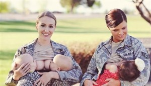 Image of mothers in uniform breastfeeding their children.
